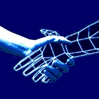 A symbol of the trust colloquiums - artificial hand shaking real hand